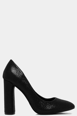 Black Shimmer Block High Heels - SinglePrice