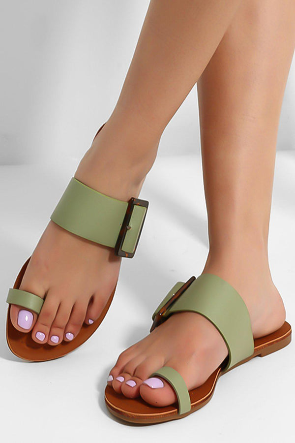 Green Large Buckle Strap Toe Ring Sliders-SinglePrice