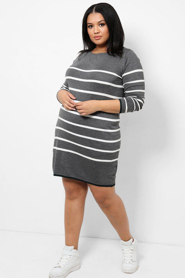 Grey Flat Knit Dress In White Stripes - SinglePrice
