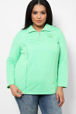 Light Green Embroidered Front Half Zip Jacket-SinglePrice