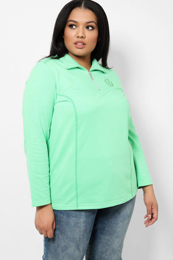 Light Green Embroidered Front Half Zip Jacket - SinglePrice