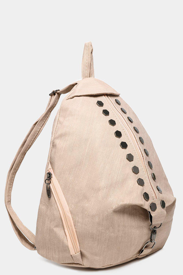 Cream Studded Textured Backpack