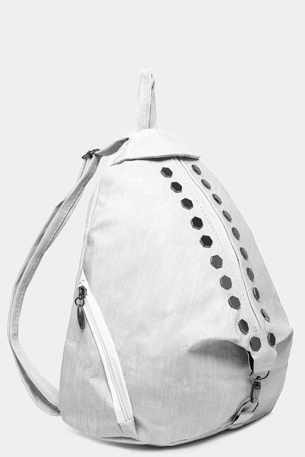 White Studded Textured Backpack