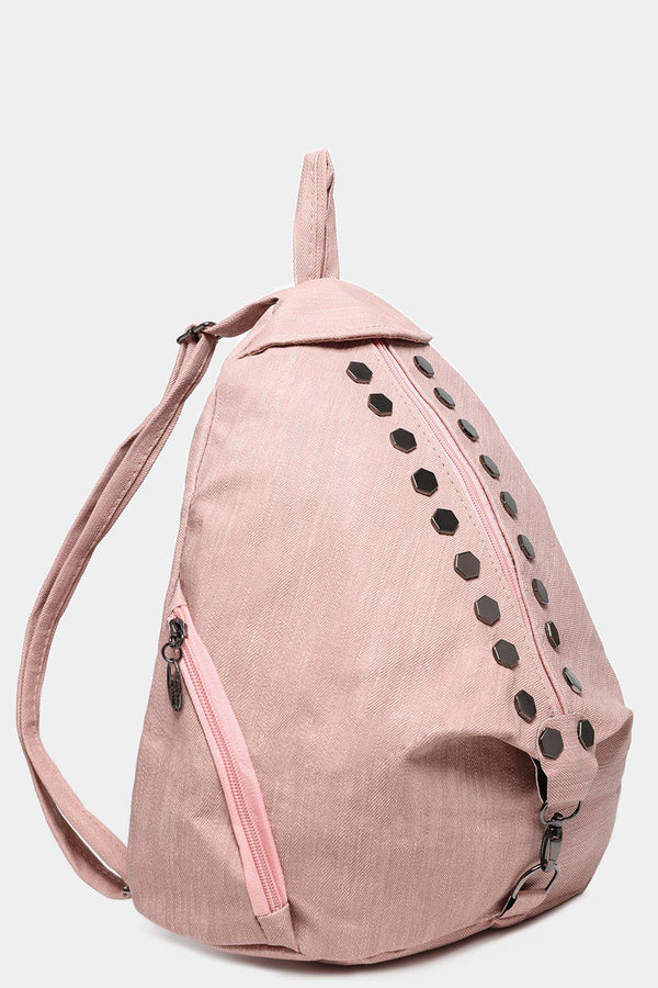 Pink Studded Textured Backpack