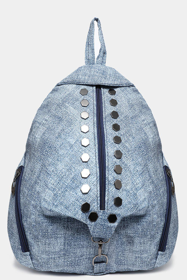 Blue Studded Textured Backpack