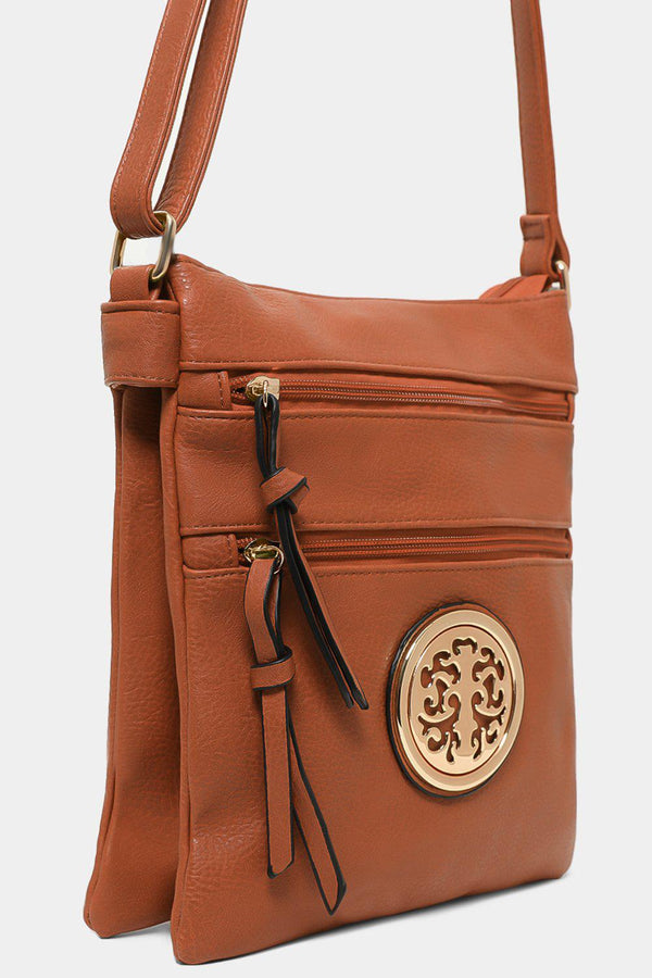 Brown Tree Logo Twin Compartment Tall Messenger Bag - SinglePrice