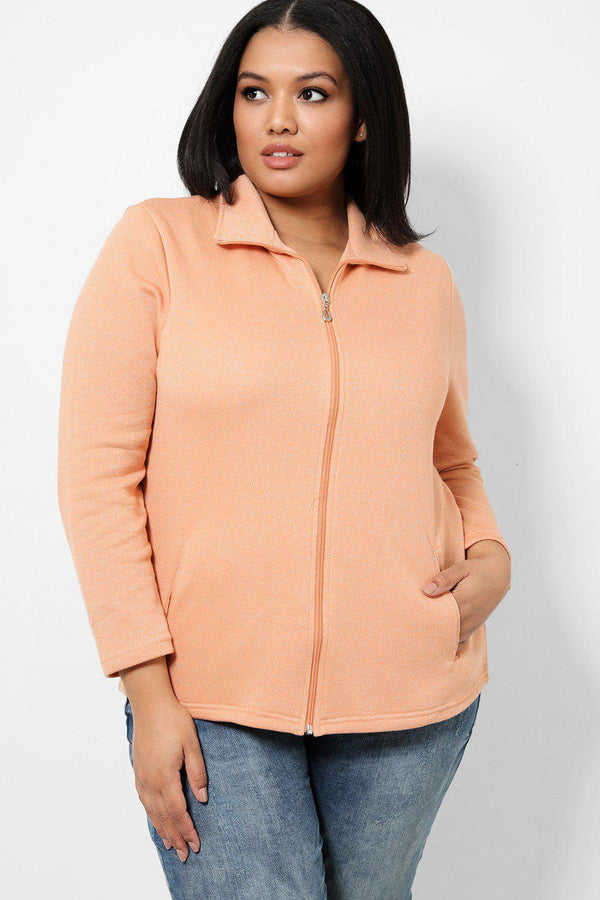 Apricot Lurex Stripe Full Zip Jacket - SinglePrice