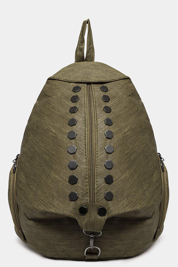 Khaki Studded Textured Backpack
