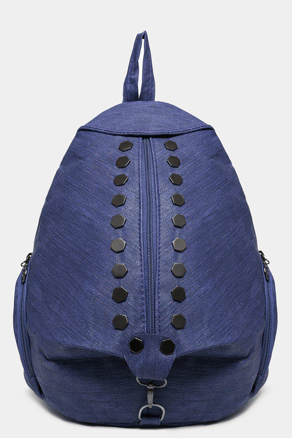Navy Studded Textured Backpack