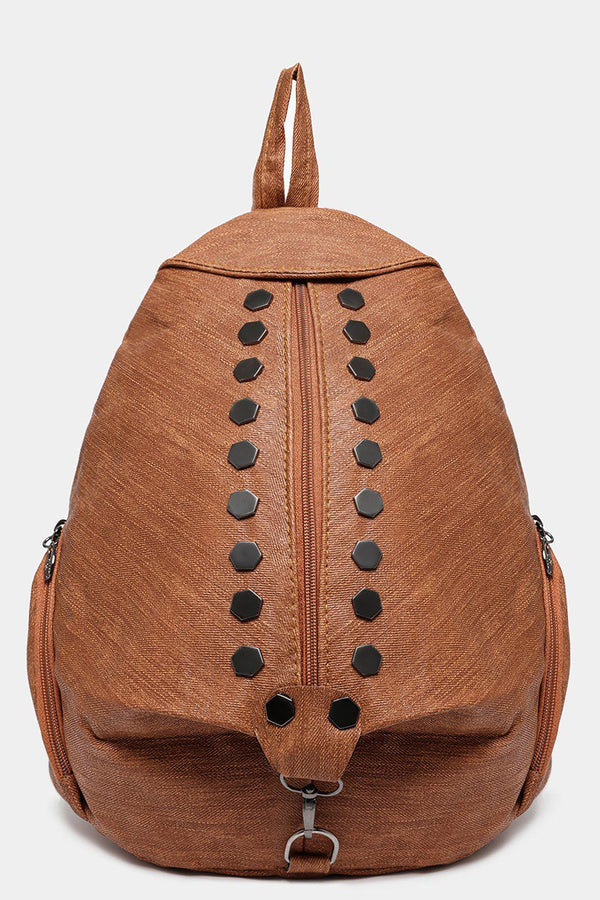 Brown Studded Textured Backpack