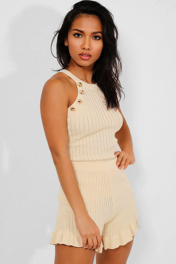 Beige Button Details Rib Knit Frill Trims 2 Piece Set - SinglePrice