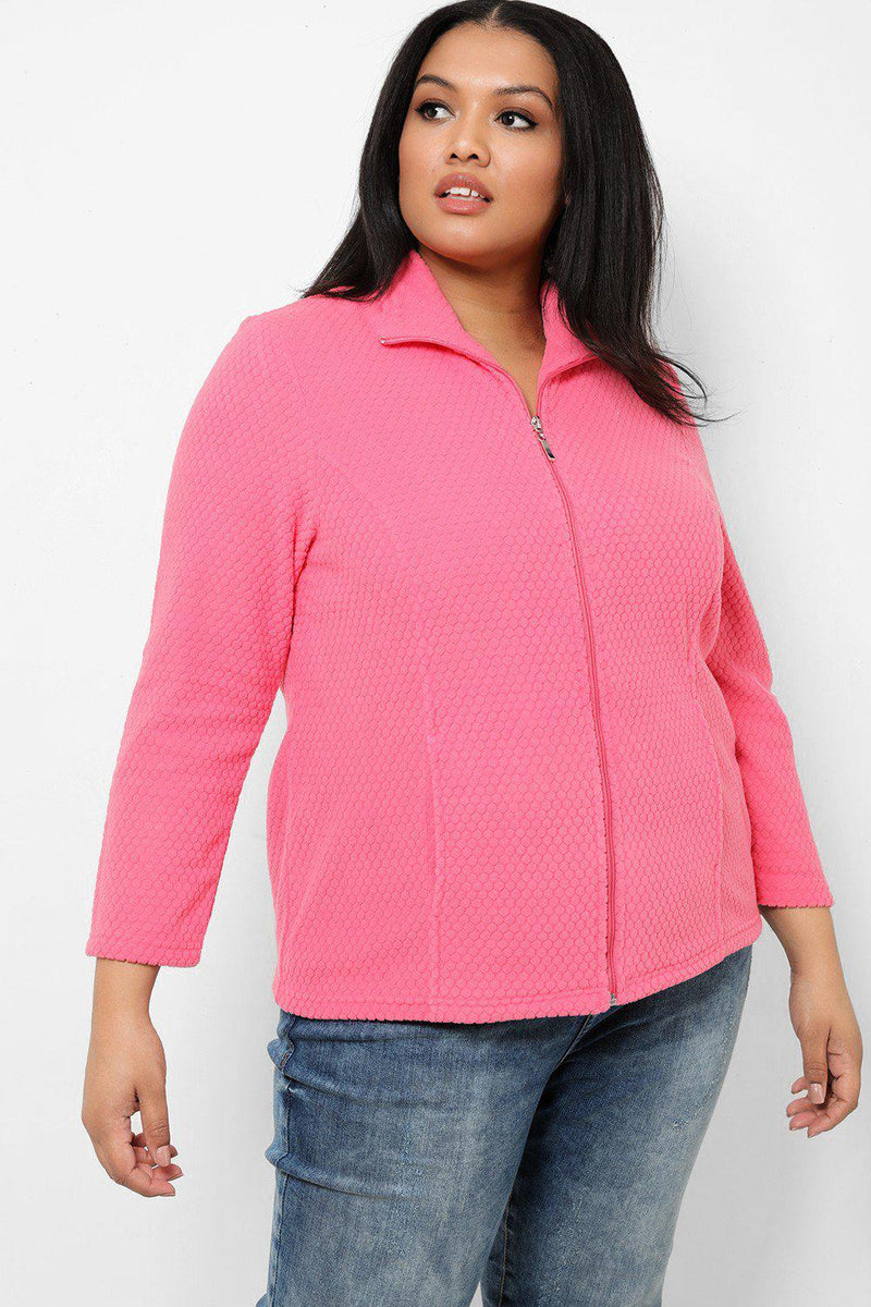 Hot Pink Honeycomb Fleece Jacket - SinglePrice