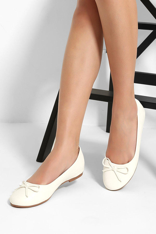 White Mock Croc Bow Detail Flats