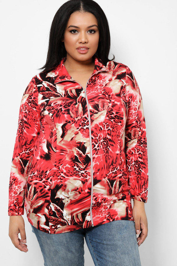 Red Floral Print Lightweight Full Zip Jacket - SinglePrice