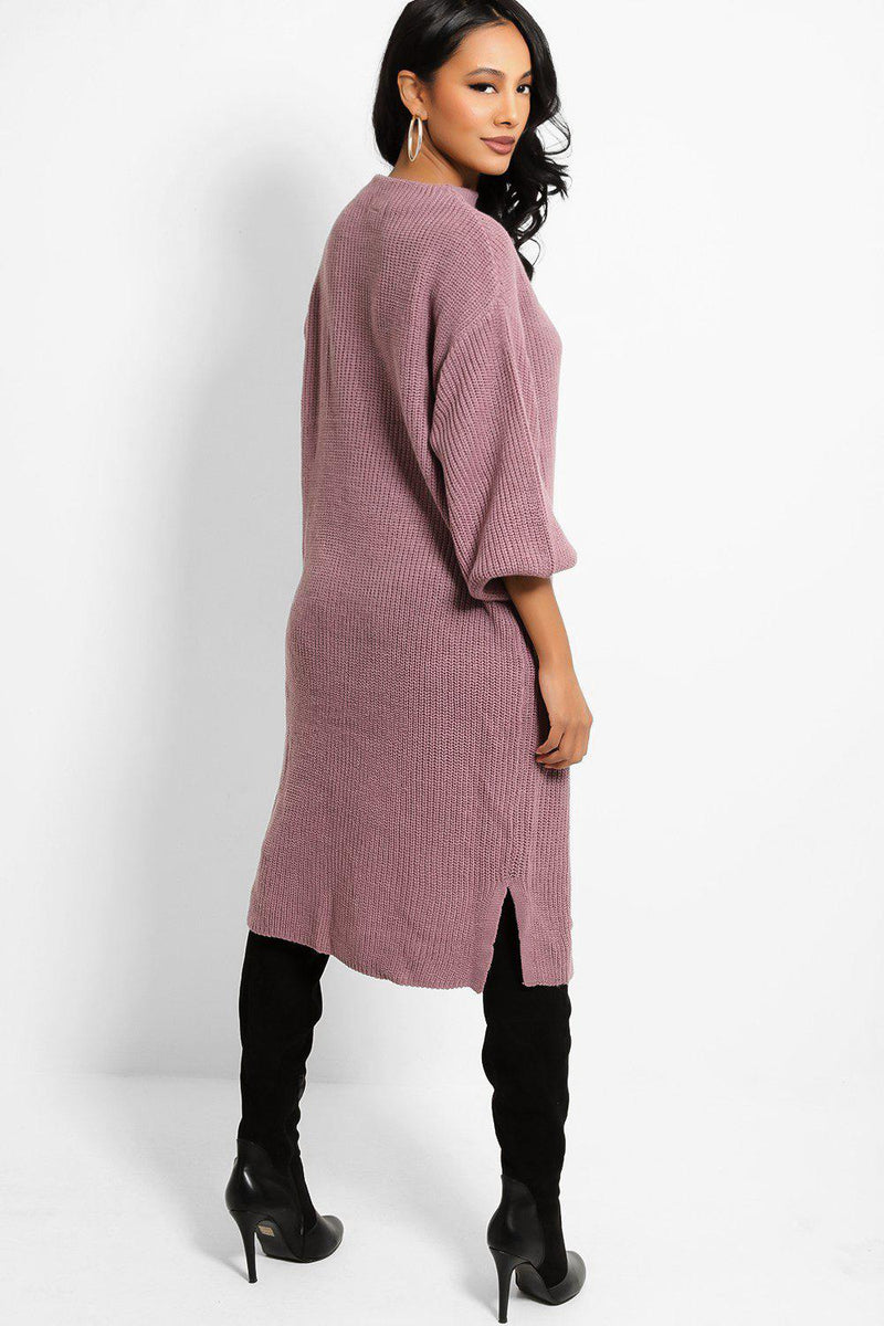 Violet High Neck Balloon Sleeves Midi Rib Knit Jumper Dress - SinglePrice