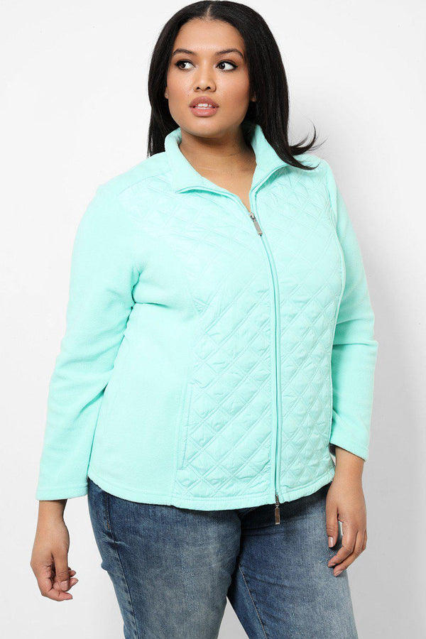Aqua Quilted Front Full Zip Jacket - SinglePrice