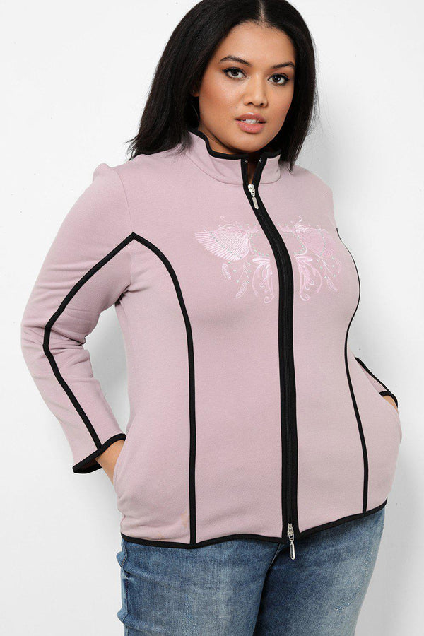 Violet Wings Embroidery Contrast Trims Jacket - SinglePrice
