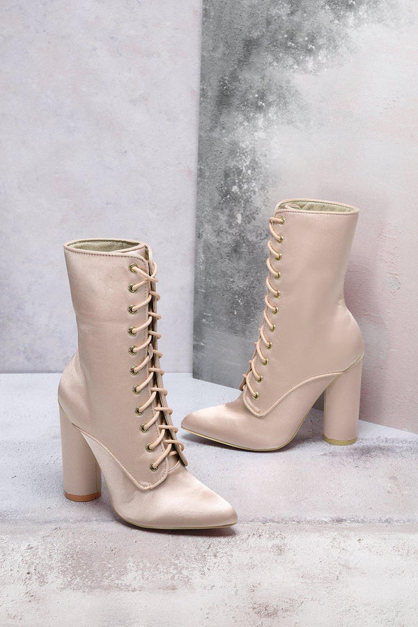 Beige Satin Lace Up Boots-SinglePrice