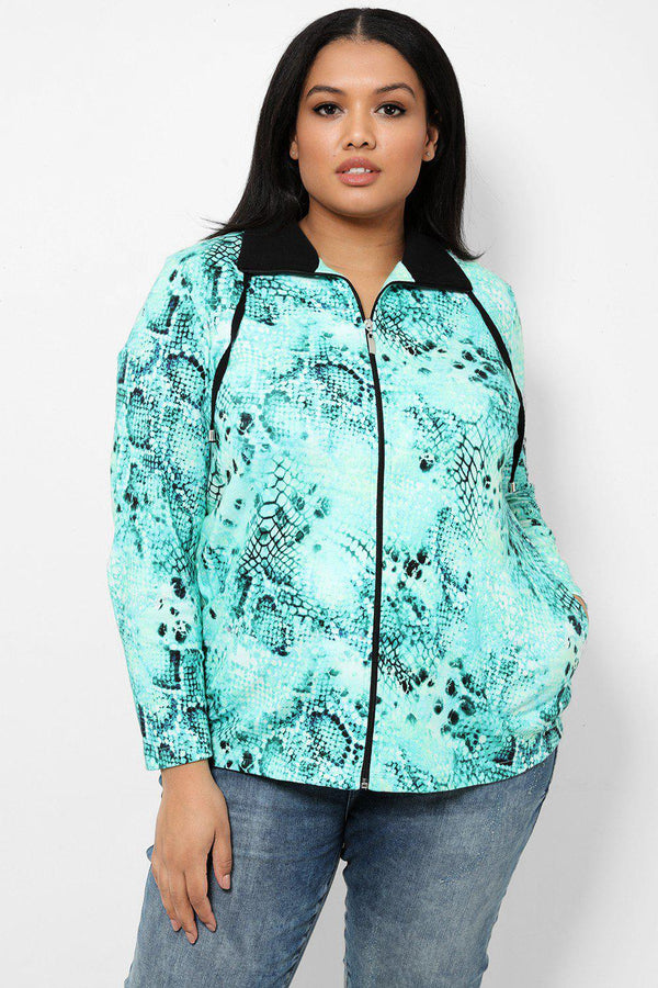 Green Python Print Full Zip Jacket - SinglePrice