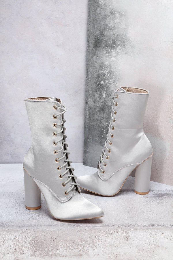 Grey Satin Lace Up Boots-SinglePrice