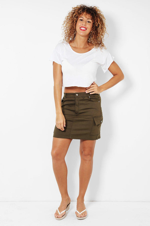 Khaki Denim Side Pockets Skirt-SinglePrice