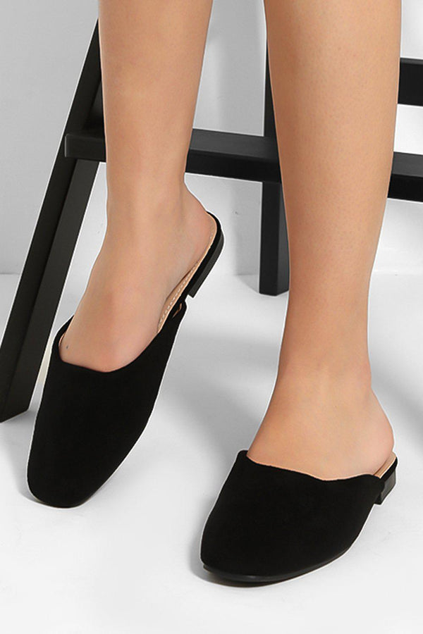 Black Vegan Suede Square Toe Mule Sliders-SinglePrice