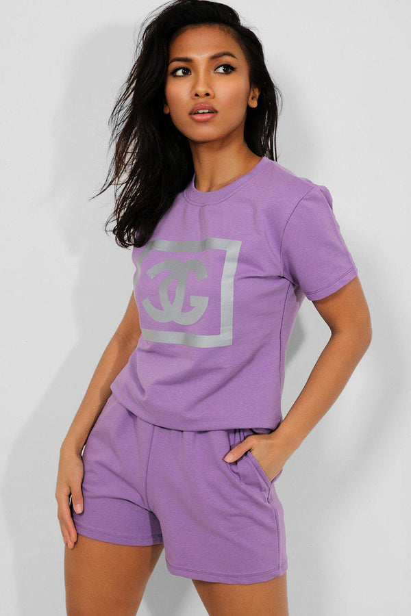 Lilac Reflective Logo Front 2 Piece Loungewear Set - SinglePrice
