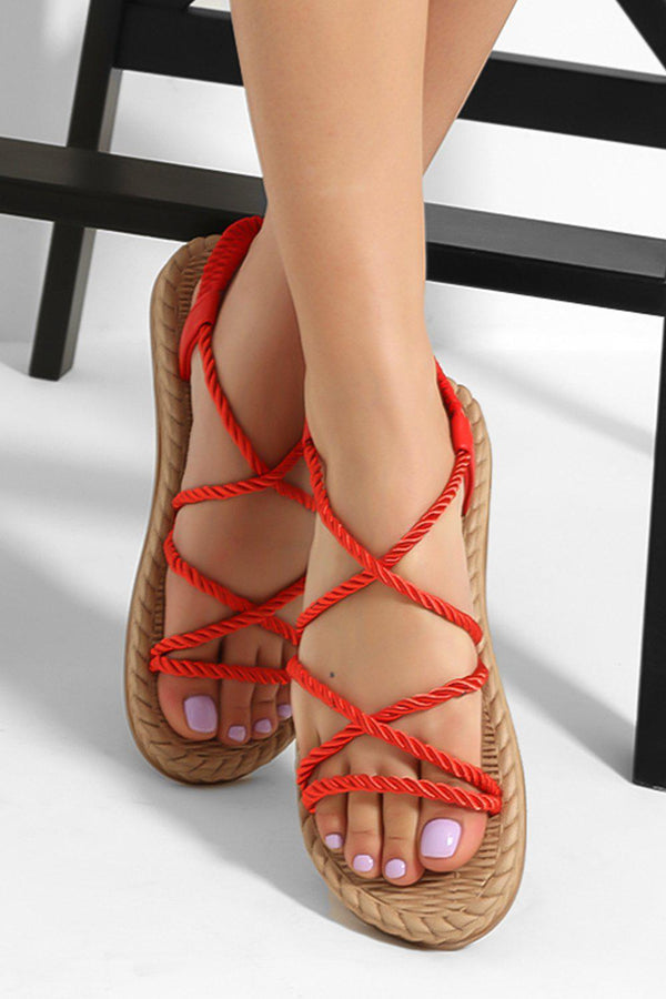 Red Rope Faux Espadrille Sandals-SinglePrice