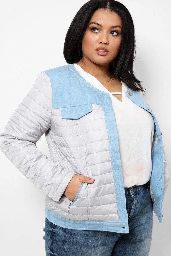 Grey Quilted Jacket With Blue Denim Panels - SinglePrice