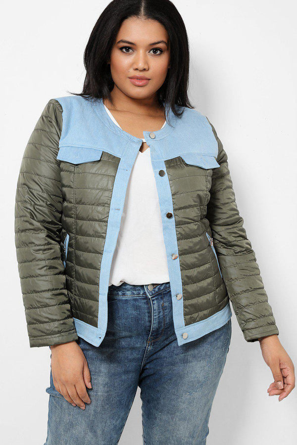 Khaki Quilted Jacket With Blue Denim Panels - SinglePrice