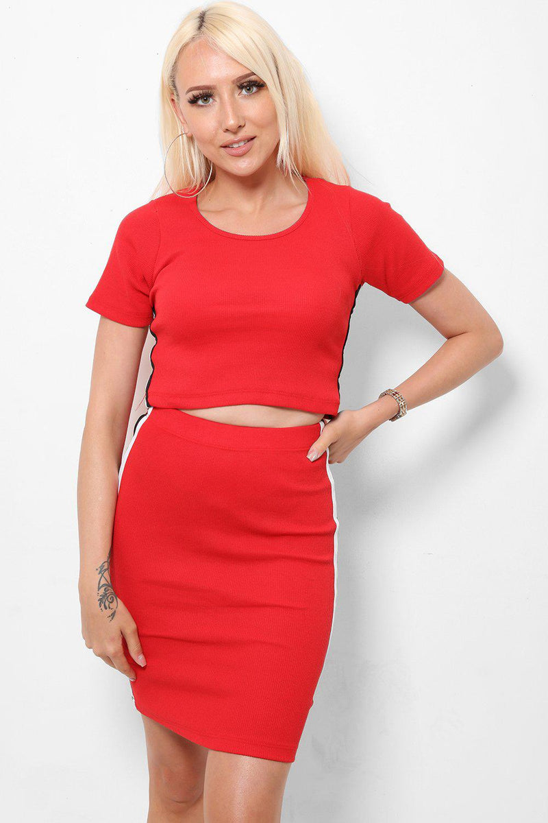 Side Stripe Red Top And Skirt Set-SinglePrice
