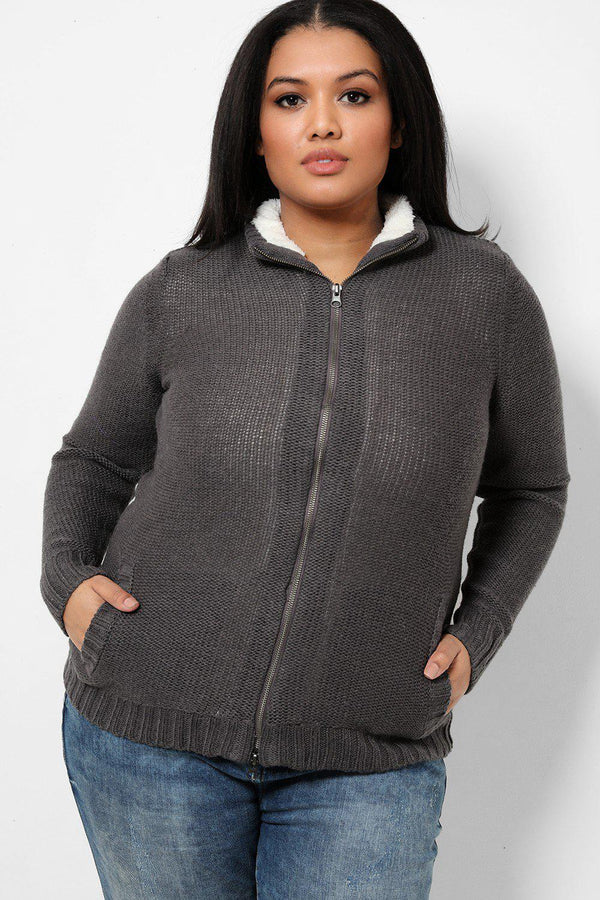 Ash Grey Purl Knit Faux Fur Lined Jacket - SinglePrice