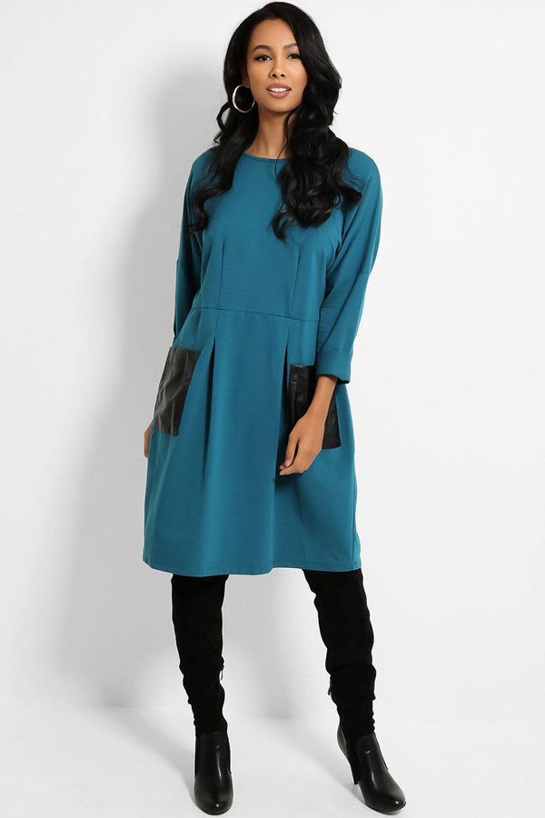 Teal Cotton Blend Vegan Leather Pockets Relaxed Fit Dress - SinglePrice