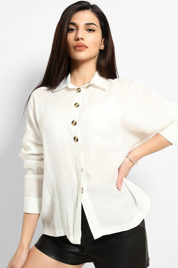 White Button Front Placket Shirt - SinglePrice