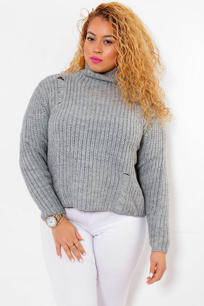 High Neck Cropped & Distressed Grey Jumper-SinglePrice