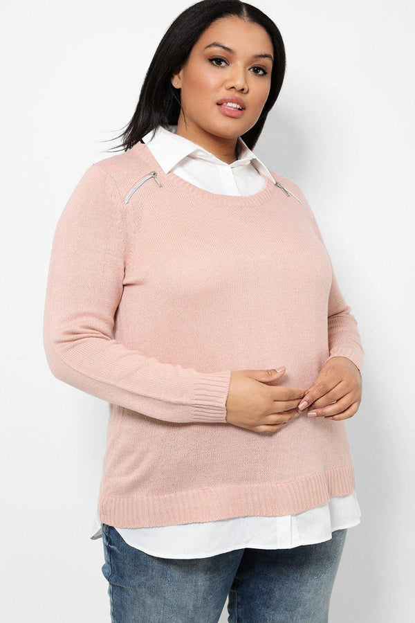 Pink Zip Details Shirt Hem Knitted Pullover-SinglePrice