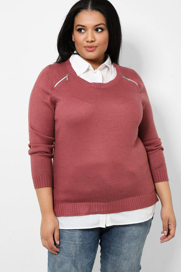 Mauve Zip Details Shirt Hem Knitted Pullover-SinglePrice