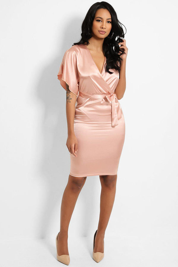 Pink Satin Touch Wrap Neck Self-Belt Midi Dress - SinglePrice
