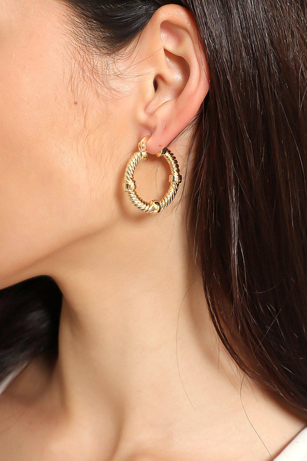 Golden Twisted Rope Knotted Hoops