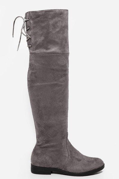 Grey Laced Back Flat Over The Knee Boots-SinglePrice