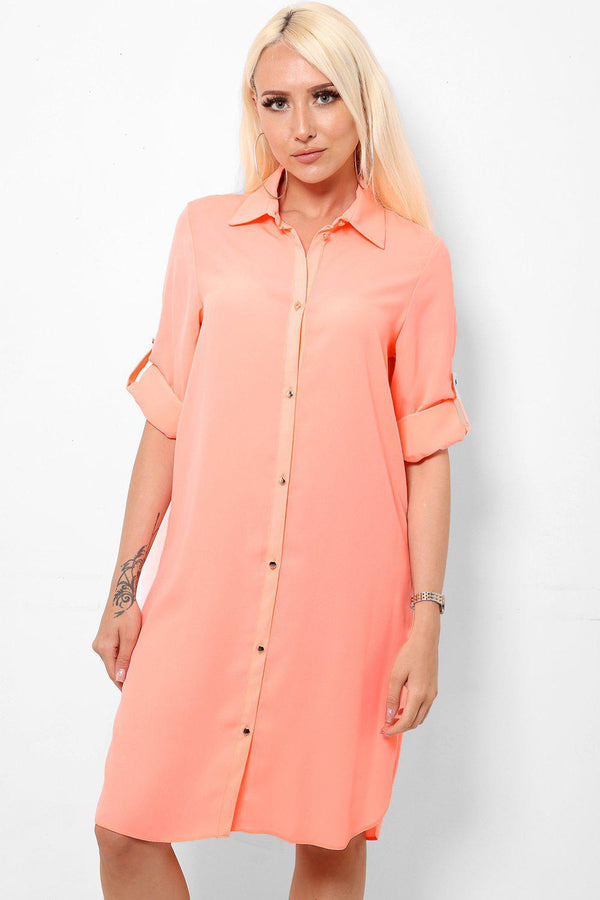 Roll Up Sleeve Coral Shirt Dress-SinglePrice