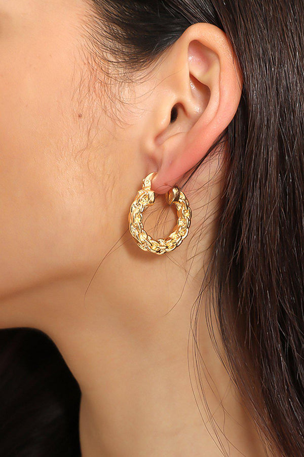 Golden Pleated Chain Hoops