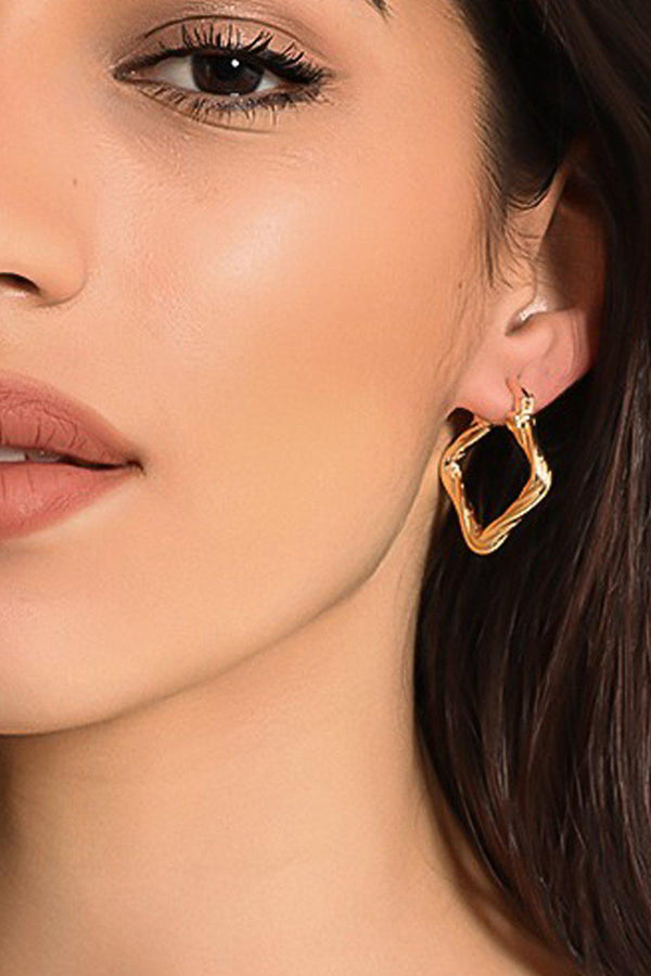 Gold Square Hoop Earrings-SinglePrice