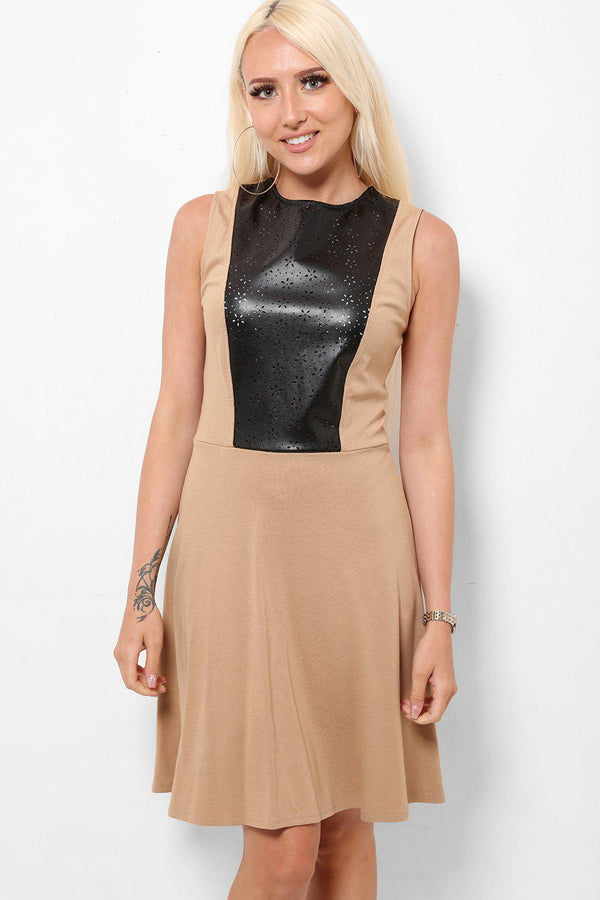 Laser Cut Vegan Leather Detail Taupe Dress - SinglePrice