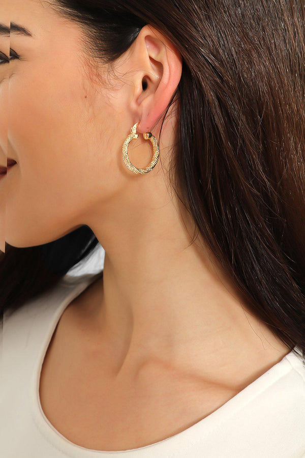 Gold Multi Twisted Hoop Earrings-SinglePrice
