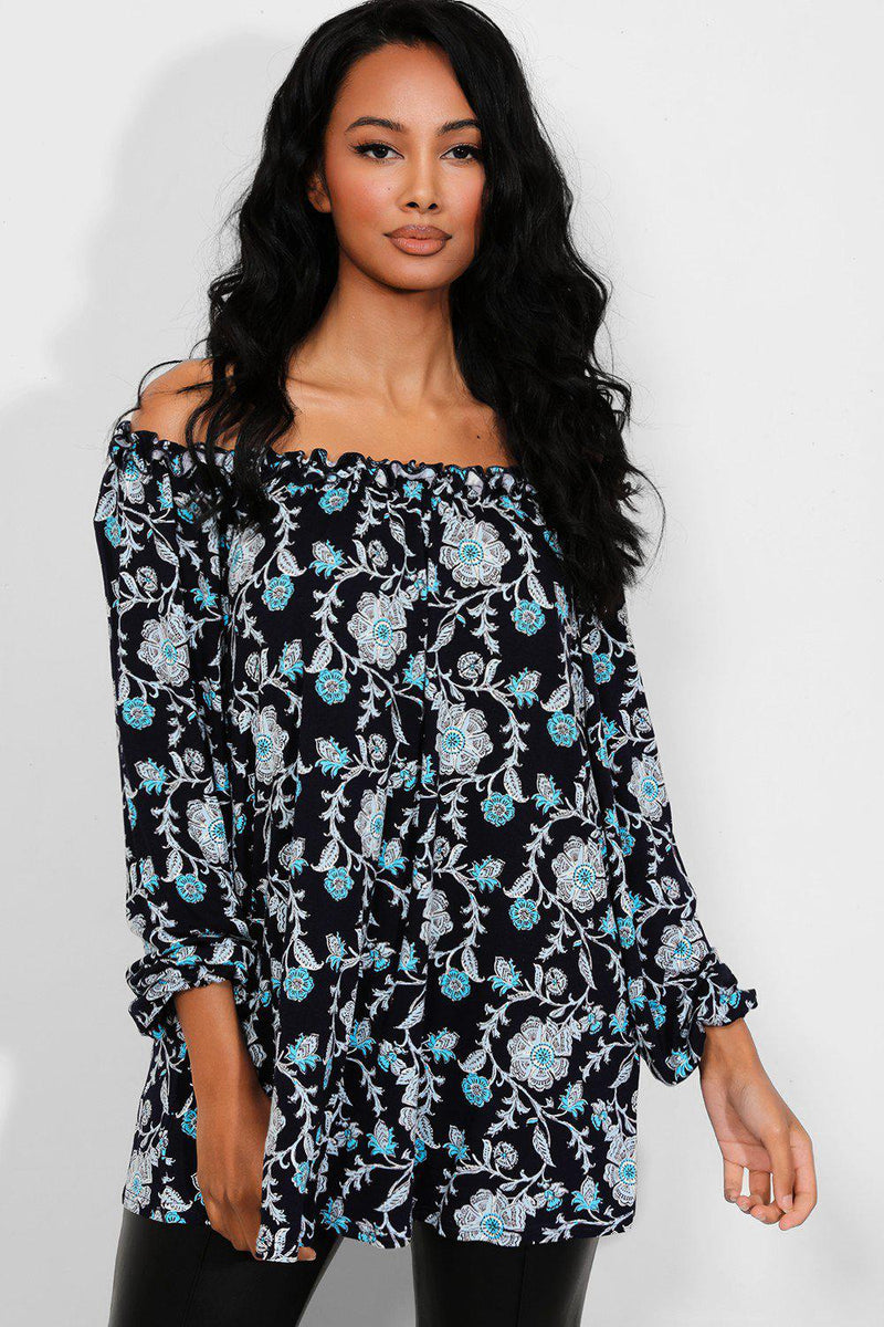 Navy Paisley Floral Off The Shoulder Top - SinglePrice