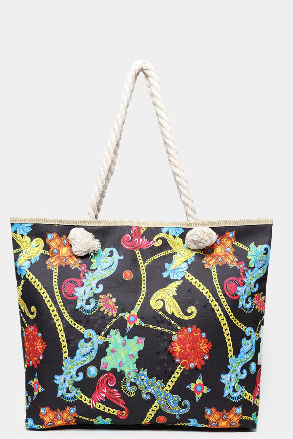 Chain Belts Print Black And Multicolour Beach Bag-SinglePrice