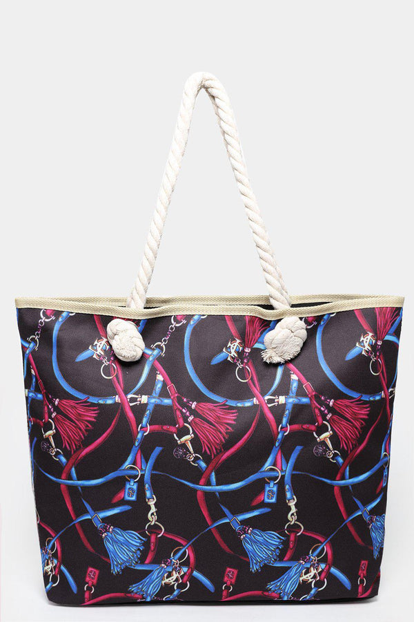 Chain Belts Print Black And Purple Beach Bag-SinglePrice