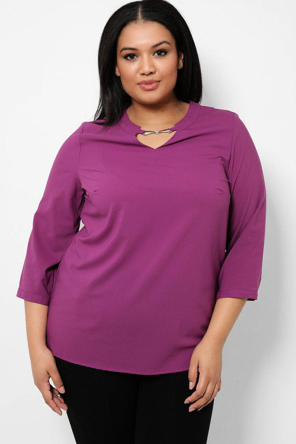 Front Metal Detail Purple Chiffon Blouse - SinglePrice