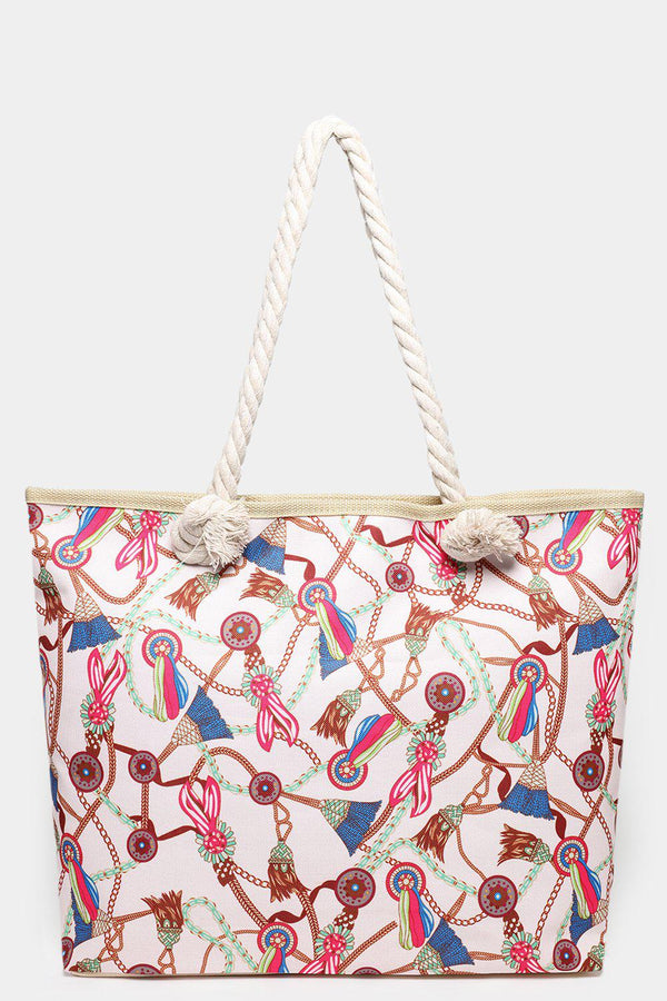 Chain Belts Print White And Green Beach Bag-SinglePrice